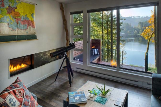 telescope living room lake