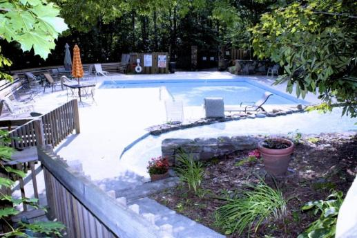 pool by garden in the mountain